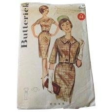 Butterick Sewing Pattern 2181 Vintage 1950s Wiggle Dress Jacket Suit