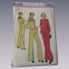 Western Pants Jacket Suit Vintage 1970s Simplicity Sewing Pattern 6223 Uncut