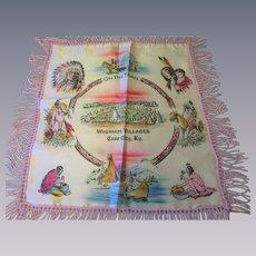 Souvenir Pillowcase Vintage 1940s Wigwam Village Native American Kentucky