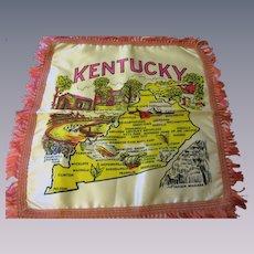 Kentucky Souvenir Pillowcase Vintage 1940s Pink Satin Fringe