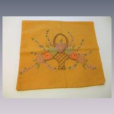 Flower Basket Pillowcase Vintage 1950s Mustard Yellow Embroidered