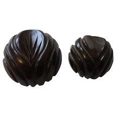 Carved Bakelite Buttons Vintage 1940s Brown Set of 2