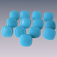 Blue Glass Buttons Vintage 1930s Set of 13 Square