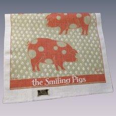 Smiling Pigs Tea Towel Vintage 1970s Deadstock NWT Kay Dee Linen