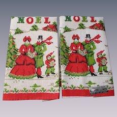 Christmas Noel Tea Towel Vintage 1970s Linen Carolers Tree Parisian Prints