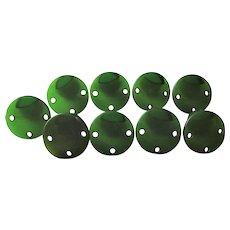 Bakelite Buttons Vintage 1940s Round Spinach Green Set 9