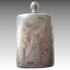 800 Silver Perfume Flask Etched Stopper European Vintage Vanity