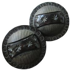 Carved Black Bakelite Buttons Vintage 1940s Stars Circles Domed Large Coat Pair