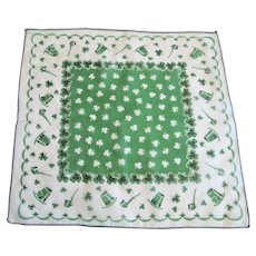 St Patricks Day Hanky Hankie Vintage 1950s Nylon Sheer Accessory