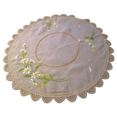 Antique Embroidered Linen Tablecloth Crocheted Lace Daisies Spring Table Decor