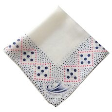 Japanese Silk Handkerchief Vintage 1930s Stars Polka Dots Art Deco
