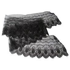 Antique Black Lace Edge Trim Fine Embroidered Net 7 Inches Wide