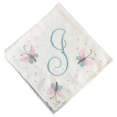 Madeira Embroidered Handkerchief Vintage 1940s Monogram Butterflies