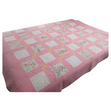 Vintage 1930s Childrens Quilt Hand Stitched Embroidered Countries Twin Pink