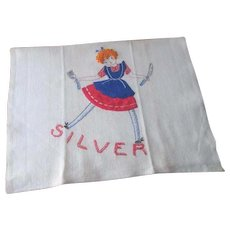 Curly Tops Tea Kitchen Towel Vintage 1950s Kitsch Little Orphan Annie Silver
