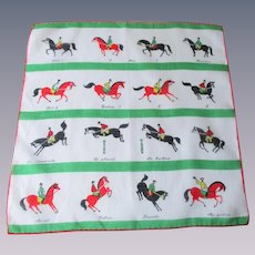 Equestrian Handkerchief Vintage 1950s Horse Jockey Jumps Stripes