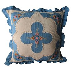 Vintage 1930s Pillow Floral Embroidery Blue White Throw