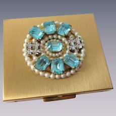Rhinestone Studded Compact Vintage 1950s Vanity Aquamarine Faux Pearl