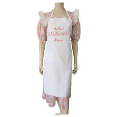 Restaurant Advertising Apron Vintage 1930s Cotton Redwork Embroidery Diner Flour
