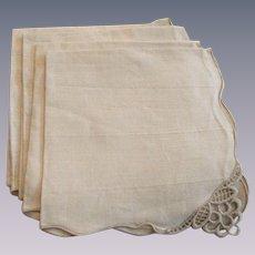 Heavy Ecru Linen Napkins Vintage 1930s Luncheon Lace Corners