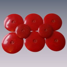 Set of 8 Red Bakelite Buttons Vintage 1940s Six Huge Two Medium