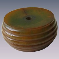 Bakelite Button Vintage 1940s Marbled Huge Stacked Butterscotch Spinach