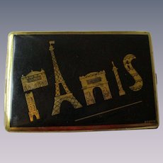 Paris Cigarette Case Vintage 1940s Brass France Souvenir Compact