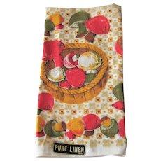 Linen Mushrooms Tea Towel Vintage 1970s Deadstock Fall Colors NWT