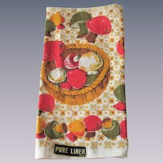 Linen Mushrooms Tea Towel Vintage 1970s Deadstock Fall Colors NWT