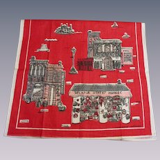 Linen Tea Towel Vintage 1970s Decatur Street Market French Quarter New Orleans