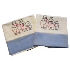 The Three Bears Pillowcases Vintage 1930s Childrens Room Embroidered