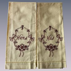 His Hers Guest Towel Set Vintage 1930s Yellow Cotton Embroidered