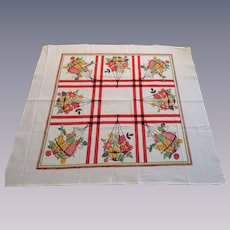 Large Print Tea Towel Vintage 1950s Startex White Cotton Flower Baskets