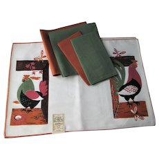 Bark Cloth Placemats Napkins Set Vintage 1950s Mid Century Modern Roosters