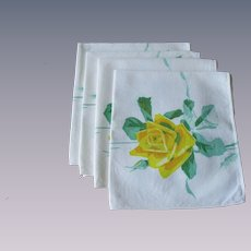 Yellow Roses Print Napkins Vintage 1950s White Luncheon Set of 4
