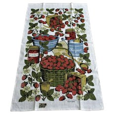 Kay Dee Linen Tea Towel Vintage 1970s Deadstock Strawberry Jam Signed Sewell Jackson