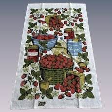 Kay Dee Linen Tea Towel Vintage 1970s Deadstock Strawberry Jam Signed Sewell Jackson