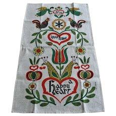 Hippie Linen Tea Towel Vintage 1970s Happy Heart Angel Cherub Peacock Flowers Kitchen