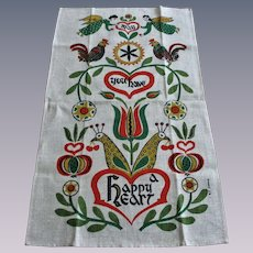 Hippie Linen Tea Towel Vintage 1970s Happy Heart Angel Cherub Peacock Flowers Kitchen
