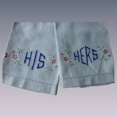 Art Deco Guest Towels Vintage 1940s His Hers Cotton Embroidered Pair
