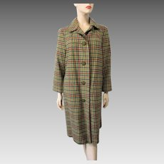 Fall Colors Wool Coat Vintage 1970s Womens Plaid Suede Leather Large