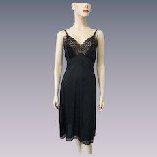 Black Full Slip Vintage 1960s Nylon Lace Lingerie