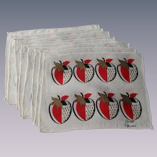 Cocktail Napkins Vintage 1950s MCM Strawberries Signed Georges Briard Set