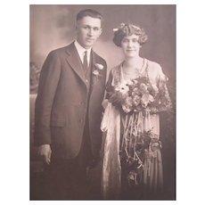 Flapper Wedding Photograph Vintage 1920s Period Clothing Bouquet
