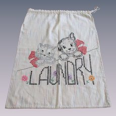 Laundry Bag Vintage 1930s Embroidered Drawstring Cat Dog Art Deco Letters