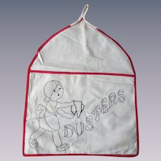 Dusters Holder Hanging Rack Vintage 1930s Embroidered Dusting Laundry Room