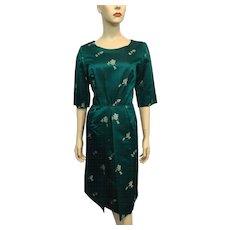 HOLD For Tann: Silk Asian Print Brocade Wiggle Dress Vintage 1950s Teal Green Bombshell Modes Hong Kong