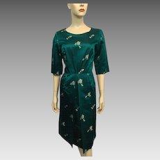 Silk Asian Print Brocade Wiggle Dress Vintage 1950s Teal Green Bombshell Modes Hong Kong