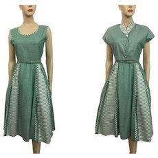 HOLD For Loreen: Swing Dress Bolero Jacket Vintage 1950s Green White Stripe Polished Cotton Suit Set