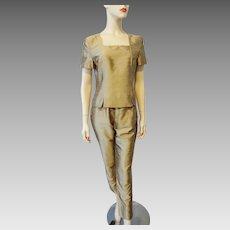 Gold Silk Faille Women Suit Vintage 1980s Designer Cigarette Pants Blouse